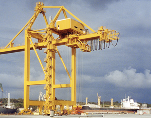 Container crane at Gdynia harbour in Poland